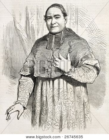 Pierre-Louis Coeur old engraved portrait, Bishop of Troyes, France. Created by Janet-Lange after photo of Petit and Triquart, published on L'Illustration, Journal Universel, Paris, 1860