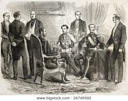 Alexander II, Russian czar, and Franz Joseph I, emperor of Austria, meeting in Warsaw. Created by Janet Lange, published on L'Illustration, Journal Universel, Paris, 1860