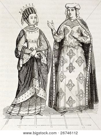 Blanche of Castile and Margaret of Provence old engraved portraits. Created by Montfaucon, published on Magasin Pittoresque, Paris, 1844