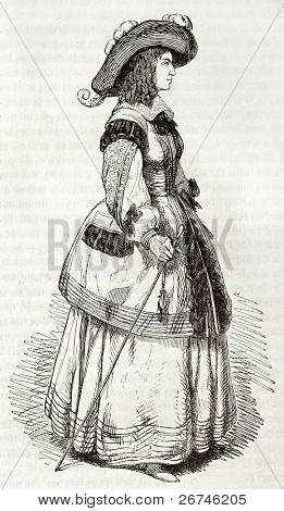 Marie de Bourbon, Duchess of Montpensier (known as Mademoiselle de Montpensier), old engraved portrait. Created by Montigneul, published on Magasin Pittoresque, Paris, 1844