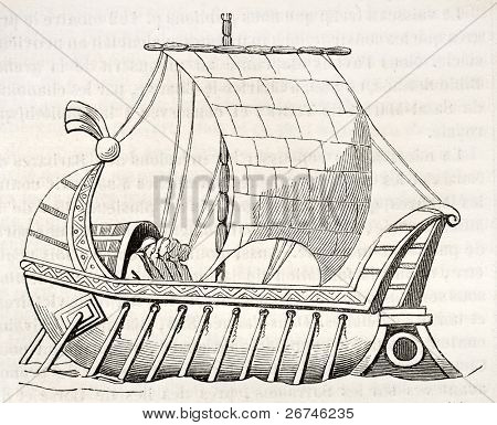9th century Frankish  vessel old illustration. After manuscript kept in Royal French library,  published on Magasin Pittoresque, Paris, 1844