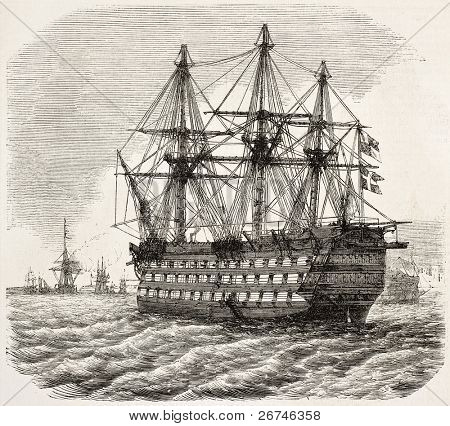 HMS Victory old illustration, Nelson's flagship at the Battle of Trafalgar (at present days museum ship in Portsmouth). By unidentified author, publ. on L'Illustration, Journal Universel, Paris, 1858