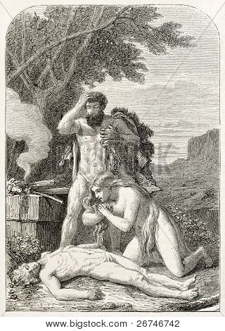 Adam and Eve keep watching dead Abel. Created by Henner, published on L'Illustration, Journal Universel, Paris, 1858