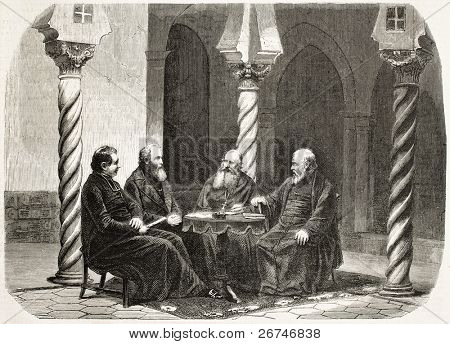 Louis-Antonine-Augustin Pavy (the second from the right) second Algiers bishop and his council. Created by Janet-Lange, published on L'Illustration, Journal Universel, Paris, 1858