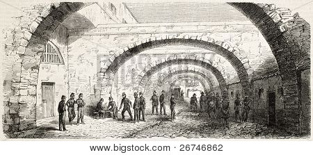Out of cell time in Fort-Neuf (military prison) courtyard, Algiers. Created by Gaildrau, published on L'Illustration, Journal Universel, Paris, 1858