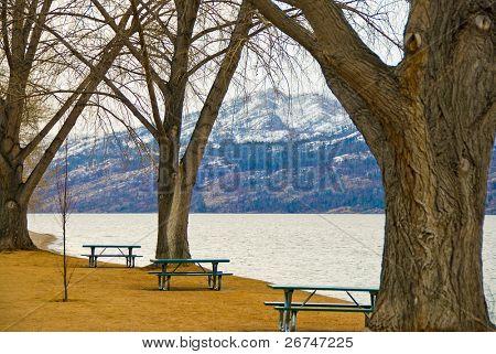 Picnic tables at the beach of Okanagan Lake, Kelowna, Canada.