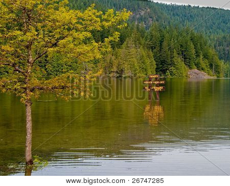 Flooded beach at Bunzen Lake, Vancouver, Canada.