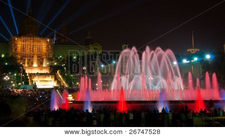 Magic fountain of Montjuic light show at Plaza Espanya in Barcelona.
