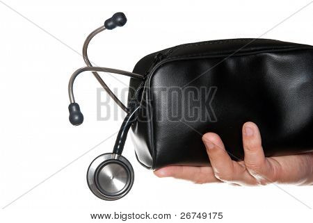 First Aid bag with medical stethoscope in hand isolated on white.