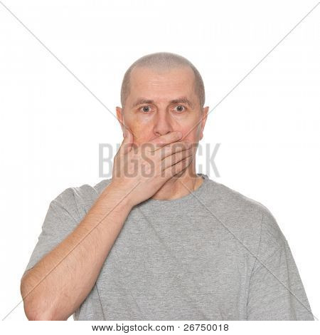 A shocked man isolated on white.