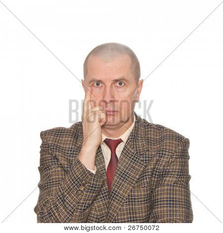 A man critically evaluating isolated on white.