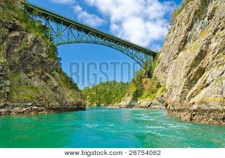 The Deception Pass Bridge bridge connecting Whidbey Island to Fidalgo Island in the U.S. state of Washington