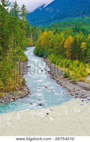 Beautiful Mountain River at the Lillooet Lake Park. Pemberton, Vancouver, British Columbia, Canada.