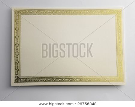 shot of a blank certificate on the plain background