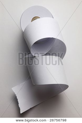 loose paper roll isolated on white