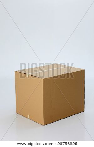 brown color cardbox on the plain background