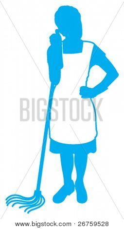 vector or illustration of the maid holding mop