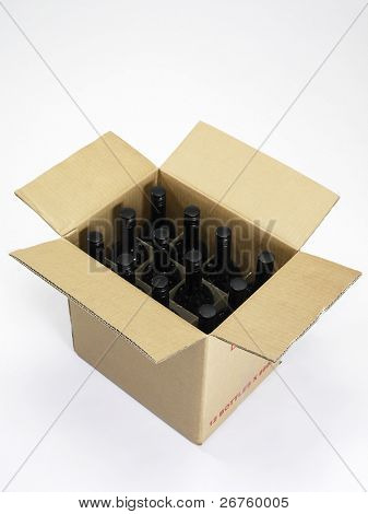 carton of the red wine on the white background