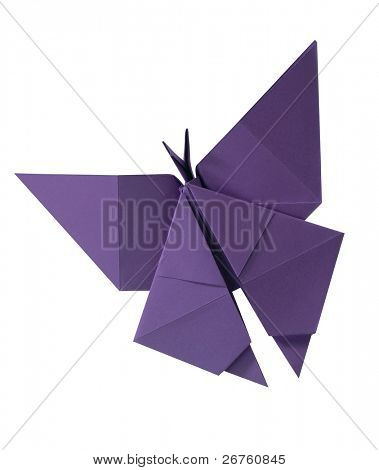 clipping path Paper folded into a butterfly.