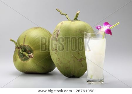 two coconuts and a cup of the juice