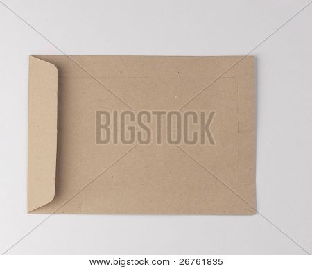 Brown envelope on plain background.