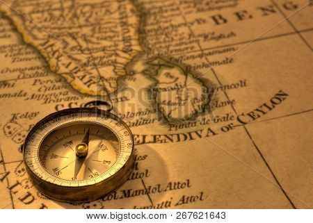 Ancient Compass And Map Of