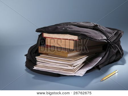 school bag fill up with book