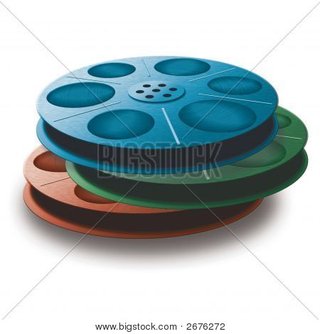 3 Spools With Tape. Different Colors.