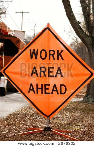 Work Area Ahead Road Sign