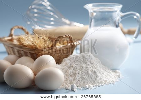 Baking ingredients and tools.