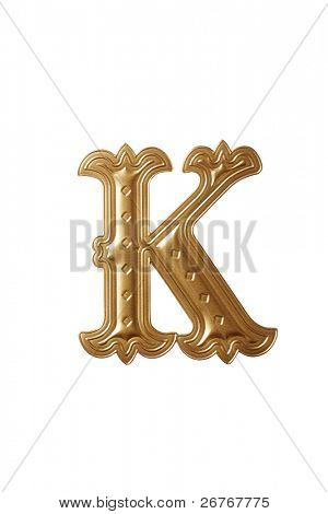 clipping path of the golden alphabet k