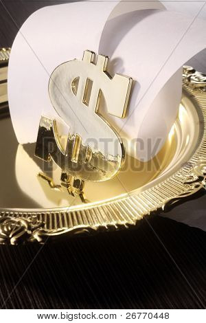 stock image of the dollar sign and roll of paper