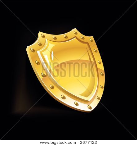 Gold Security Shield Guard Protection Equipment Vector Illustration