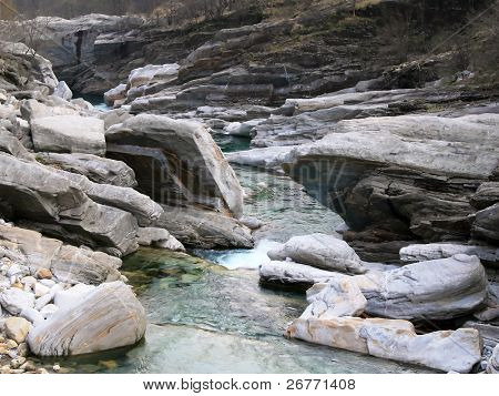 Rock formation in the valley of Verzasca River