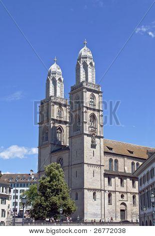 Famous Grossmunster church in Zurich, Switzerland