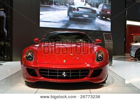 GENEVA - MARCH 7: The world premiere of the Ferrari 599xx on display at the 79th International Motor Show Palexpo-Geneva on March 7, 2009.