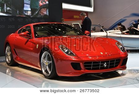 GENEVA - MARCH 7: Ferrari 599XX on display at the 79th International Motor Show Palexpo-Geneva on March 7, 2009.