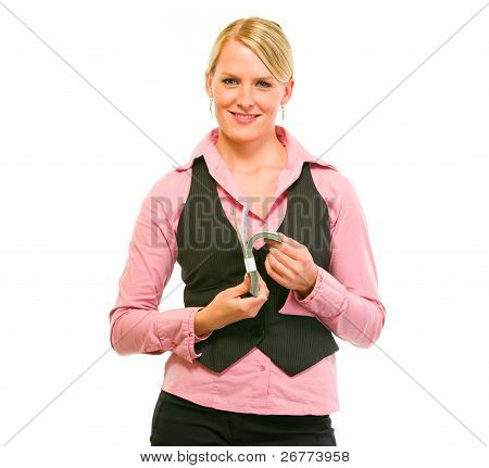 Happy Modern Business Woman Counting Dollars In Pack