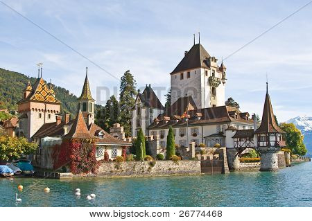 Oberhofen castle on the lake Thun, Jungfrau region, Switzerland)
