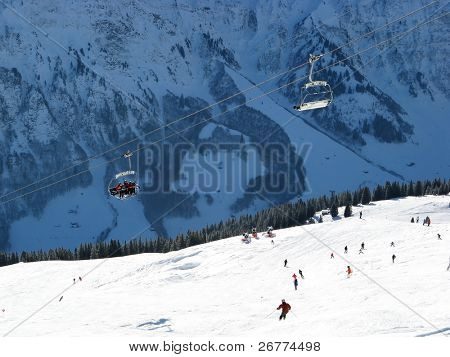 Skiing in swiss alps (Elm, Switzerland)
