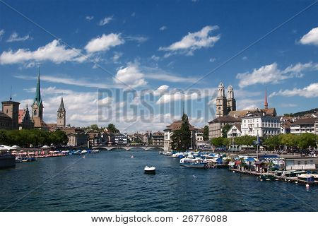 Summer view of the Zurich downtown