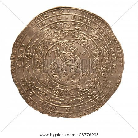 Medieval silver coin with zodiac signs