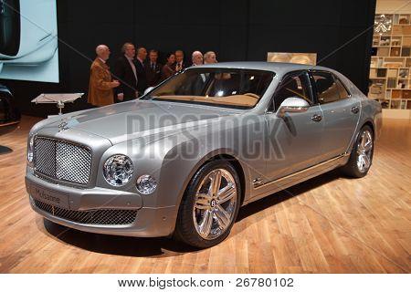 GENEVA - MARCH 8: The Bentley Mulsanne on the 81st International Motor Show Palexpo-Geneva on March 8; 2011  in Geneva, Switzerland.