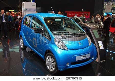 GENEVA - MARCH 8: The fully electric Peugeot ION with zero emission on the 81st International Motor Show Palexpo-Geneva on March 8; 2011  in Geneva, Switzerland.