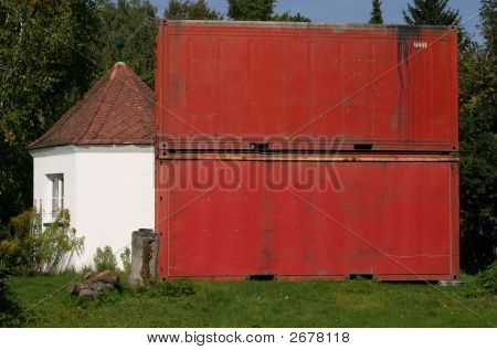 Stacked Cargo Containers In A Garden