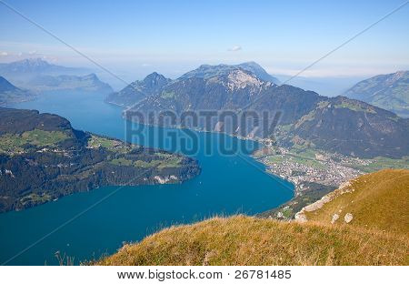 Aerial view of lake Luzern(Vierwalderstattersee) surrounded by mountains