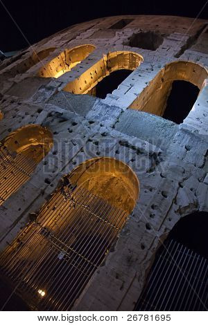 Night view of the famous Colloseum in Rome, Italy