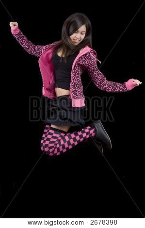 Teenager Jumps Before Black Background