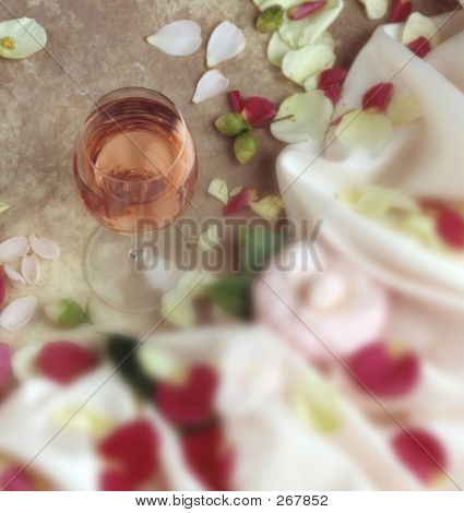 White Zinfandel With Flower Pedals