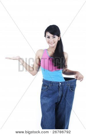 Happy Asian Woman Lossing Weight